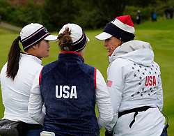 Auchterarder, Scotland, UK. 14 September 2019. Saturday afternoon Fourballs matches  at 2019 Solheim Cup on Centenary Course at Gleneagles. Pictured; Angel Lin and Ally McDonald of team USA talk with Team Captain Juli Inkster. Iain Masterton/Alamy Live News