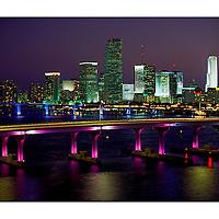 Night View City of Miami Skyline