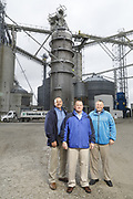 SHOT 10/29/18 9:46:36 AM - Sunrise Cooperative is a leading agricultural and energy cooperative based in Fremont, Ohio with members spanning from the Ohio River to Lake Erie. Sunrise is 100-percent farmer-owned and was formed through the merger of Trupointe Cooperative and Sunrise Cooperative on September 1, 2016. Photographed at the Clyde, Ohio grain elevator was George D. Secor President / CEO and John Lowry<br /> Chairman of the Board of Directors with  CoBank RM Gary Weidenborner. (Photo by Marc Piscotty © 2018)