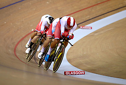 Russia Men Team Pursuit led by Alexander Evtushenko in qualifying during day one of the 2018 European Championships at the Sir Chris Hoy Velodrome, Glasgow. PRESS ASSOCIATION Photo. Picture date: Thursday August 2, 2018. See PA story SPORT European. Photo credit should read: John Walton/PA Wire. RESTRICTIONS: Editorial use only, no commercial use without prior permissionduring day one of the 2018 European Championships at the Sir Chris Hoy Velodrome, Glasgow. PRESS ASSOCIATION Photo. Picture date: Thursday August 2, 2018. See PA story SPORT European. Photo credit should read: John Walton/PA Wire. RESTRICTIONS: Editorial use only, no commercial use without prior permission