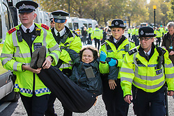 © Licensed to London News Pictures. 15/10/2019. London, UK. Police arrest an Extinction Rebellion protester after demonstrators blocked Millbank with a caravan. Police have said that any Extinction Rebellion protesters who continue will be liable for arrest. Photo credit: Rob Pinney/LNP