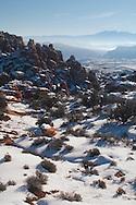 Fiery Furnace area, La Sal Mountains, .Arches National Park, Utah, winter.