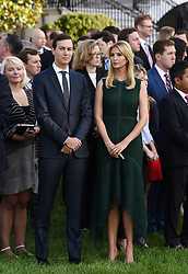 Jared Kushner, the President's son-in-law and senior adviser and Ivanka Trump participate in a moment of silence on the 16th anniversary of the September 11 terrorist attacks on the United States, at the White House on September 11, 2017 in Washington, DC. Photo by Olivier Douliery/ Abaca