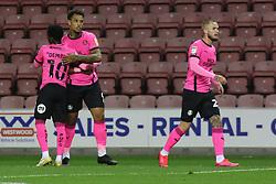 Jonson Clarke-Harris of Peterborough United celebrates scoring the opening goal - Mandatory by-line: Joe Dent/JMP - 20/10/2020 - FOOTBALL - DW Stadium - Wigan, England - Wigan Athletic v Peterborough United - Sky Bet League One