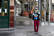 A view of an empty Swanston Street were only one person can be seen in what would normally be peak hour during COVID-19 in Melbourne, Australia. Hotel quarantine linked to 99% of Victoria's COVID-19 cases, inquiry told. This comes amid a further 222 new cases being discovered along with 17 deaths. Melbourne continues to reel under Stage 4 restrictions with speculation that it will be extended. (Photo by Dave Hewison/Speed Media)