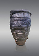 Large Pithos storage jar decorated with wavy lbands and linaear A inscription, Knossos Palace, Crete.  National Archaeological Museum Athens. 17th-16th cent BC.<br /> <br /> From the 1887 excavations of Kalokairinos, Knossos. .<br /> <br /> If you prefer to buy from our ALAMY PHOTO LIBRARY  Collection visit : https://www.alamy.com/portfolio/paul-williams-funkystock/minoan-art-artefacts.html . Type -   Athens    - into the LOWER SEARCH WITHIN GALLERY box. Refine search by adding background colour, place, museum etc<br /> <br /> Visit our MINOAN ART PHOTO COLLECTIONS for more photos to download  as wall art prints https://funkystock.photoshelter.com/gallery-collection/Ancient-Minoans-Art-Artefacts-Antiquities-Historic-Places-Pictures-Images-of/C0000ricT2SU_M9w