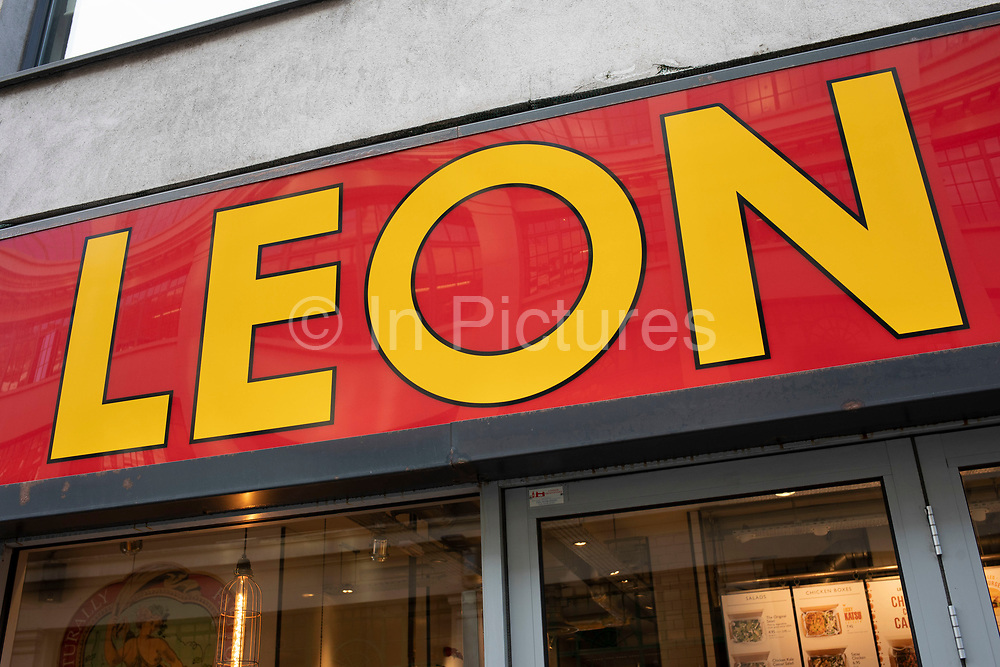 Sign for the brand Leon on 10th January 2020 in London, England, United Kingdom. Leon is a fast food restaurant chain offering healthy natural options.