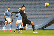 Manchester City midfielder Phil Foden (47) shoots at goal during the Premier League match between Manchester City and Burnley at the Etihad Stadium, Manchester, England on 28 November 2020.