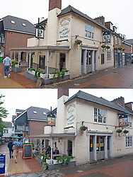 ©Licensed to London News Pictures 19/08/2020             Sevenoaks, UK. Comparison picture today (19/08/2020) The Restoration pub and from the (30/06/2020)The Black Boy pub. The Black Boy pub in Sevenoaks, Kent which is over 400 years old has changed its name over racism fears to The Restoration. Photo credit: Grant Falvey/LNP
