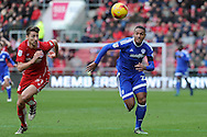 Cardiff City's Kenneth Zohore (r) takes on Bristol's Jens Hegeler. EFL Skybet championship match, Bristol City v Cardiff City at the Ashton Gate Stadium  in Bristol, Avon on Saturday 14th January 2017.<br /> pic by Carl Robertson, Andrew Orchard sports photography.