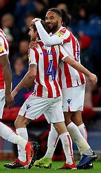 Stoke City's Joe Allen (left) is congratulated by team mate Ashley Williams after scoring his side's second goal during the Sky Bet Championship match at the bet365 Stadium in Stoke.