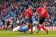 Alfredo Morelos goes down and looks towards the referee during the Ladbrokes Scottish Premiership match between Rangers and Kilmarnock at Ibrox, Glasgow, Scotland on 16 March 2019.
