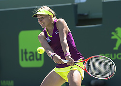 March 22, 2018 - Key Biscayne, Florida, United States Of America - KEY BISCAYNE, FL -MARCH 22: Johanna Larsson on day 10 of the Miami Open at Crandon Park Tennis Center on March 22, 2018 in Key Biscayne, Florida. ...People:  Johanna Larsson. (Credit Image: © SMG via ZUMA Wire)