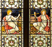 Stained glass window detail depicting Faith and Hope, designed by Henry Holiday 1880s, Campsea Ash church, Suffolk, England, UK