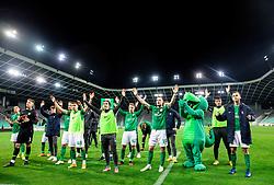 Players of Olimpija infront of supporters Green Dragons after the football match between NK Olimpija and NK CB24 Tabor Sezana in 35th Round of Prva liga Telekom Slovenije 2020/21, on May 19, 2021 in SRC Stozice, Ljubljana, Slovenia. Photo by Vid Ponikvar / Sportida