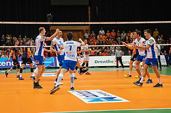 12-05-2019 NED: Abiant Lycurgus - Achterhoek Orion, Groningen<br /> Final Round 5 of 5 Eredivisie volleyball, Orion wins Dutch title after thriller against Lycurgus 3-2 / Auke van de Kamp #5 of Lycurgus , Niels de Vries #17 of Lycurgus , Frits van Gestel #7 of Lycurgus , Wytze Kooistra #2 of Lycurgus , Stijn Held #3 of Lycurgus