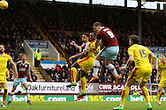 Sam Vokes of Burnley heads the ball wide of the goal. Skybet football league Championship match, Burnley v Rotherham United at Turf Moor in Burnley, Lancs on Saturday 20th February 2016.<br /> pic by Chris Stading, Andrew Orchard sports photography.