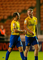 Football - 2021 / 2022 EFL Carabao Cup - Round Two - Blackpool vs. Sunderland -Bloomfield Road - Tuesday 24th August 2021<br /> <br /> Hat trick hero Aiden O'Brien of Sunderland celebrates with Jack Diamond at the end of the game, at Bloomfield Road.<br /> <br /> COLORSPORT/Alan Martin