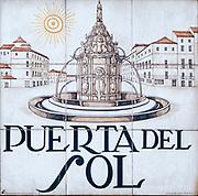 Puerta del Sol. Ceramic street sign in Madrid, Spain