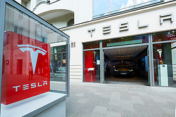 Tesla electric car showroom on Kurfurstendamm shopping street in Charlottenburg Berlin, Germany
