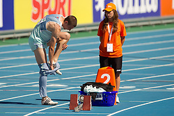 Sebastjan Jagarinec of Slovenia at warming up before he is going to compete during the first round of the men's 400m at the 2010 European Athletics Championships at the Olympic Stadium in Barcelona on July 27, 2010.(Photo by Vid Ponikvar / Sportida)