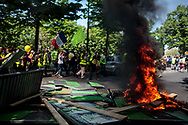 Fire during the protest.