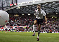 Photo: Paul Thomas.<br /> England v Hungary. International Friendly. 30/05/2006.<br /> <br /> Steven Gerrard celebrates his goal.