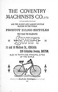 Advert for The Coventry Machinist Co. LTD from Chicago and Boston Makers of the SWIFT Bicycle  From Wheels and Wheeling; An indispensable handbook for cyclists, with over two hundred illustrations by Porter, Luther Henry. Published in Boston in 1892