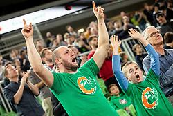Supporters of Cedevita Olimpija celebrate during basketball match between teams KK Cedevita Olimpija and Germani Brescia in Round #7 of EuroCup 2019/20, on November 19, 2019, in Arena Stozice, Ljubljana, Slovenia. Photo by Vid Ponikvar / Sportida