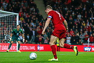 GOAL 0-2 Liverpool midfielder James Milner (7) delivers the cross, assist, Liverpool defender Ki-Jana Hoever (51) scores (not in picture) during the EFL Cup match between Milton Keynes Dons and Liverpool at stadium:mk, Milton Keynes, England on 25 September 2019.