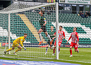 Plymouth Argyle Midfielder Joe Edwards (8) heads the ball away from goal during the EFL Sky Bet League 1 match between Plymouth Argyle and Sunderland at Home Park, Plymouth, England on 1 May 2021.