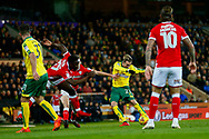 Norwich City midfielder James Maddison (23) shoots at goal during the EFL Sky Bet Championship match between Norwich City and Barnsley at Carrow Road, Norwich, England on 18 November 2017. Photo by Phil Chaplin.