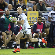 Luke Hume (14) of the United States runs with the ball during the 2016 Americas Rugby Championship match at Lockhart Stadium on Saturday, February 20, 2016 in Fort Lauderdale, Florida.  (Alex Menendez via AP)