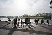 Caversham. Berkshire. UK<br /> Crews Preparing for the second day of the  2016 GBRowing U23 Trials at the GBRowing Training base near Reading, Berkshire.<br /> <br /> Tuesday  12/04/2016<br /> <br /> [Mandatory Credit; Peter SPURRIER/Intersport-images]