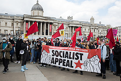 London, UK. 1st May, 2021. Supporters of Socialist Appeal, the newspaper of the British section of the International Marxist Tendency, attend a Kill The Bill demonstration as part of a National Day of Action on International Workers Day. Nationwide protests have been organised against the Police, Crime, Sentencing and Courts Bill, which would grant the police a range of new discretionary powers to shut down protests.