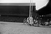 04/09/1966<br /> 09/04/1966<br /> 4 September 1966<br /> All-Ireland Senior Hurling Final: Kilkenny v Cork at Croke Park, Dublin.<br /> C. Sheehan (Cork) runs into the back of the net after scoring a goal.