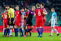 Joe Hart of England, Eric Dier of England and Jordan Henderson of England during football match between National teams of Slovenia and England in Round #3 of FIFA World Cup Russia 2018 qualifications in Group F, on October 11, 2016 in SRC Stozice, Ljubljana, Slovenia. Photo by Grega Valancic / Sportida
