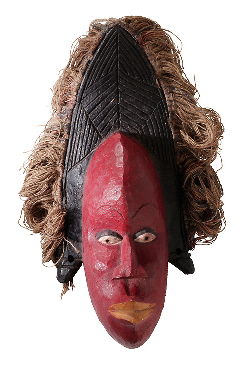 African tribal ceremonial face mask, wooden traditional tribe mask, cut out