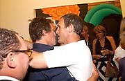 Hugh Grant and A.A. Gill, Tom Wesselmann, Hamiltons. 24 June 2003. © Copyright Photograph by Dafydd Jones 66 Stockwell Park Rd. London SW9 0DA Tel 020 7733 0108 www.dafjones.com