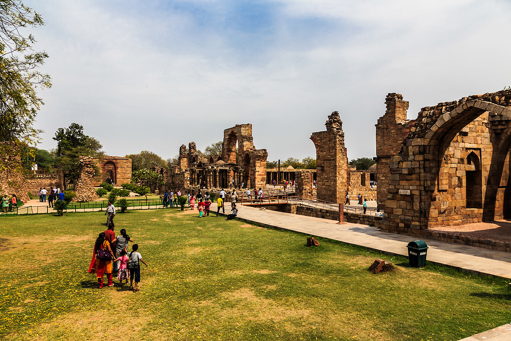 Quwwat-ul-Islam Mosque in Qutb Minar Complex in New Delhi, India. It was the first mosque built in Delhi after the Islamic conquest of India and the oldest surviving example of Ghurids architecture in Indian subcontinent.