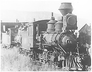 """RGS 2-8-0 #13 in the Ridgway yard with 2-8-0 #3 behind.<br /> RGS  Ridgway, CO  Taken by Voss, H. L.<br /> In book """"RGS Story, The Vol I: Over the Bridges-Ridgway to Telluride"""" page 52<br /> Also in """"Silver San Juan"""", p. 590."""