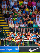 The Mens 400m Hurdle field competition during the second day of the Diamond League event Prefontaine Classic held at the University of Oregons Hayward Field.The Prefontaine Classic is named for University of Oregon track legend Steve Prefontaine.