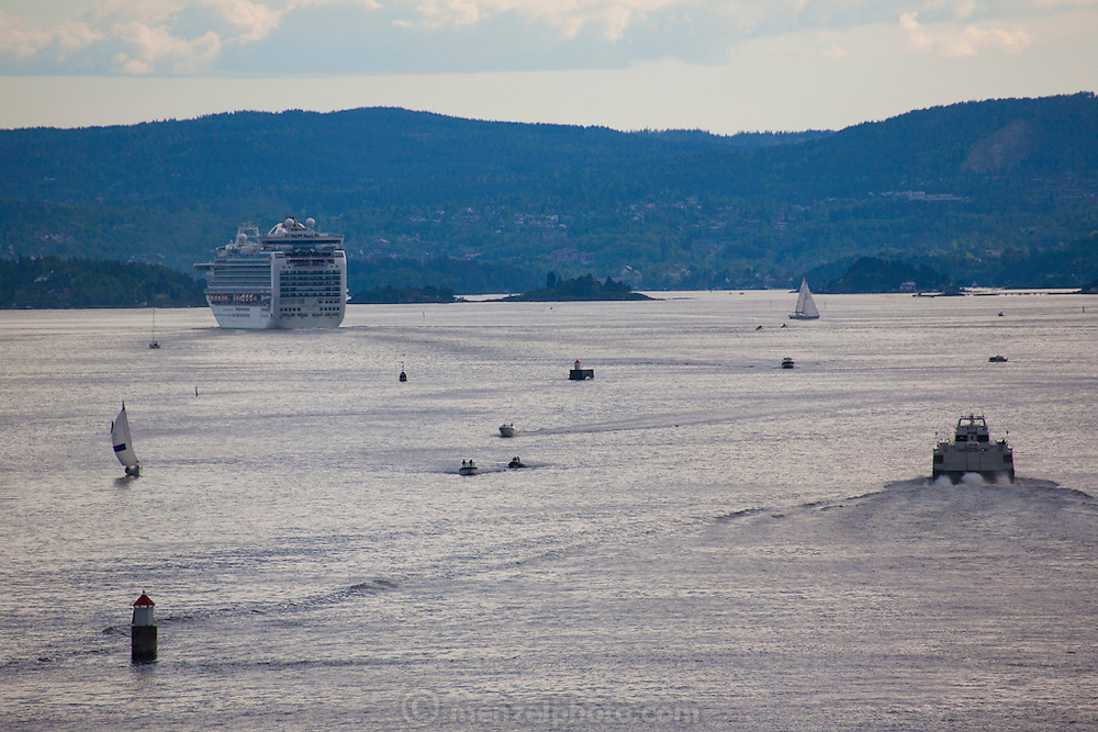 Harbor, Oslo, Norway. Cruise ship, ferry, and sailboats.