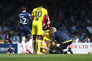 Burton Albion forward Liam Boyce( 27) is injured during the EFL Sky Bet League 1 match between Southend United and Burton Albion at Roots Hall, Southend, England on 22 April 2019.