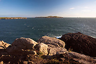 View across Whitesands Bay from the end of St David's Head looking toward Ramsey Island, Pembrokeshire, Wales, Uk