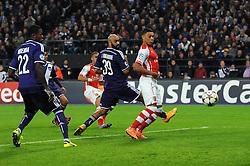 Arsenal's Kieran Gibbs scores the equalising goal - Photo mandatory by-line: Dougie Allward/JMP - Mobile: 07966 386802 - 22/10/2014 - SPORT - Football - Anderlecht - Constant Vanden Stockstadion - R.S.C. Anderlecht v Arsenal - UEFA Champions League - Group D