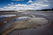 Cloudy afternoon in Norris Geyser Basin in Yellowstone National Park