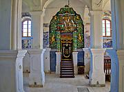 Synagoga w Bobowej, bogato zdobiona, stiukowa oprawa Aron ha-kodesz pochodząca z lat 1777–1778.<br /> Synagogue in Bobowa, richly decorated, stucco cover Aron ha-kodesz dating from 1777-1778.