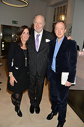 Left to right, LADY RUDDOCK, ED VICTOR and GEORDIE GREIG at a talk by Geordie Greig about his book 'Breakfast With Lucian' held at Grace, 11c West Halkin Street, London on 22nd January 2014.