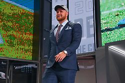 April 26, 2018 - Arlington, TX, U.S. - ARLINGTON, TX - APRIL 26:  Kolton Miller walks on stage after being chosen by the Oakland Raiders with the fifteenth pick during the first round at the 2018 NFL Draft at AT&T Statium on April 26, 2018 at AT&T Stadium in Arlington Texas.  (Photo by Rich Graessle/Icon Sportswire) (Credit Image: © Rich Graessle/Icon SMI via ZUMA Press)